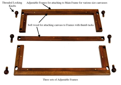 Bostonian Mahogany Needlepoint Rotating Adjustable Frame Stand