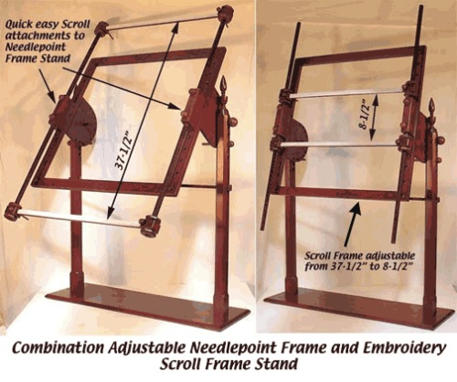 Large Mahogany Ultimate Rotating Scroll Frame Stand