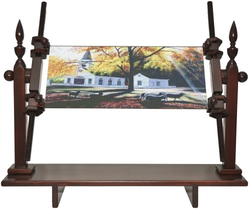 Colonial Mahogany Large Needlepoint Rotating Scroll Frame Lap Stand